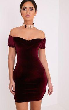 Gina Burgundy Velvet Bardot Bodycon Dress Image 1 #bodycondresshomecoming