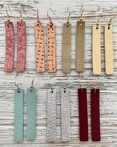 Rectangle leather earrings, petite dangle earrings, bar leather earrings, genuine leather, gifts for - DIY Jewelry Vintage Ideen Diy Leather Earrings, Diy Earrings, Leather Jewelry, Diamond Earrings, Earrings Handmade, Small Earrings, Handmade Jewellery, Diamond Stud, Chandelier Earrings