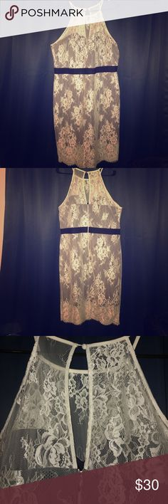 ASOS-Paperdolls Lace Overlay Halterneck Size 18 Navy blue and white lace overlay dress. Worn only once. ASOS Curve Dresses Midi