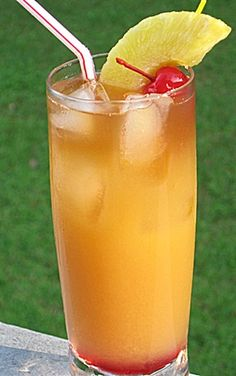 Mai Tai (1 oz. Light Rum .5 oz. Triple Sec .5 oz Amaretto 1 oz. Dark Rum 2 oz. Orange Juice 2 oz. Pineapple Juice .5 oz Grenadine)
