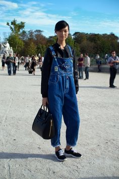 baggy denim overalls