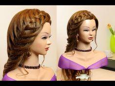 Lace waterfall braid. Mermaid hairstyle for long hair - YouTube