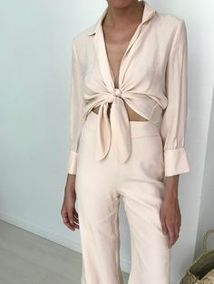 love this blush pant and top with a tie set.