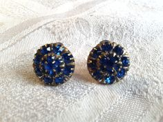 Vintage 50s Clip On Earrings, Cornflower Blue Diamante, Set in Sterling Silver. by GothiqueGirl on Etsy