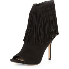 Sam Edelman Arizona Suede Fringe Bootie (€150) ❤ liked on Polyvore featuring shoes, boots, ankle booties, black, sam edelman booties, black leather boots, open toe booties, black leather booties and fringe booties