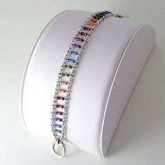 Exquisite Rainbow Electronics and Crystal Bracelet -- Heirloom Geek Chic Jewelry. $145.00, via Etsy.