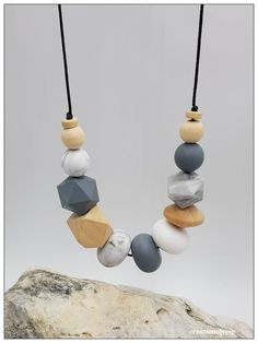 Grey, Marble, Wood Necklace #etsy shop: #Necklace #Necklace for Woman #Beaded Necklace #Statement Necklace #Best Friend Gift #Gift for Her #Grey White Necklace #Necklace #Jewelry #etsyshop http://etsy.me/2G4CoUC