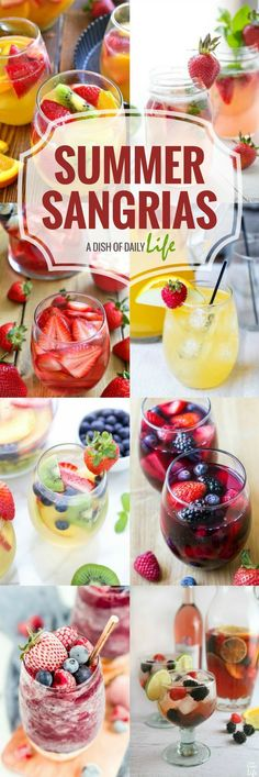 Best Sangria Recipes for Summer - A Dish of Daily Life White, red, pink, or slushy.we have you covered with these easy sangria recipes, perfect for summer! Red Sangria Recipes, Cocktail Recipes, Recipe For Sangria, Summer White Sangria Recipe, Homemade Sangria, Cocktail Ideas, Margarita Recipes, Orange Recipes, Cocktail Drinks