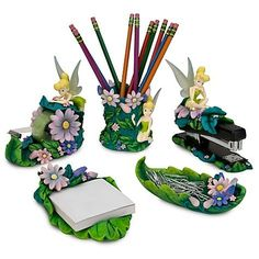 Disney Tinkerbell Tinker Bell Office Desk Home Set 5 pc.,  SOOO pretty....