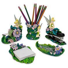 Disney Tinkerbell Tinker Bell Office Desk Home Set 5 pc.,  SOOO pretty....