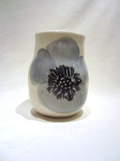 Chunky vase with Duck Egg Poppy by Wonki Ware.
