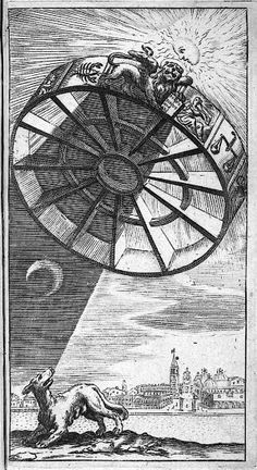 Boethius' Rota Fortuna or wheel of fortune casting a shadow over a dog; engraving emblematic of the black plague, ca. 1650.