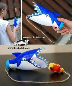 This would be cute to make as a whale and do Jonah and the Whale for Sunday School. Diy Recycled Toys, Recycled Crafts For Kids, Recycling Projects For Kids, Recycled Bottles, Diy Toys, Diy For Kids, Recycle Crafts, Kids Fun, Empty Plastic Bottles