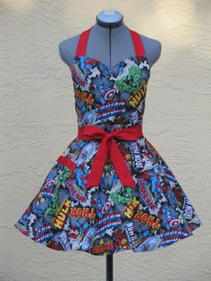 New  Sweetheart Marvel Comic Apron by AquamarCouture on Etsy