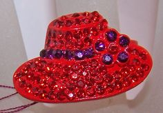 RED HAT SHAPED ADJUSTABLE RING RED & PURPLE CRYSTAL FOR SOCIETY LADIES