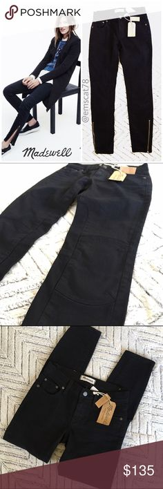 """NWT Madewell Skinny Skinny Ankle Zip Moto Jeans 24 *RARE NWT Madewell Skinny Skinny Ankle Zip Moto Jeans 24. Black Moto jeans with thigh and knee """"patches."""" Approximate Measurements (flat): 13.5"""" across waist, 8"""" rise, 28"""" inseam. New with tags! ***LABEL MARKED THROUGH BY MANUFACTURER TO PREVENT RETURNS.  🎀Search my closet for your size 🎀BUNDLE and SAVE! 🎀REASONABLE offers WELCOME 🎀NO TRADES NO HOLDS 🎀Thank you for stopping by!❤️ Madewell Jeans Skinny"""