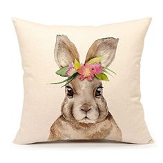 Bunny atimier Easter Rabbit Throw Pillow Case Cushion Cover Spring Home Decoration Cotton Linen 18 x 18 Inch