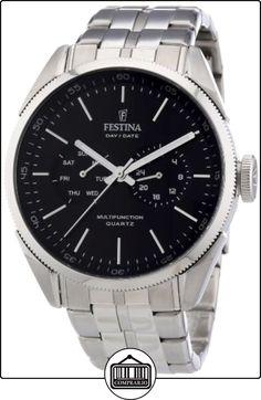 Festina Klassik Multifunktion F16630/8 - Reloj analógico de cuarzo para hombre, correa de acero inoxidable color plateado (agujas luminiscentes) de  ✿ Relojes para hombre - (Gama media/alta) ✿