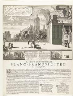 Daniël Stopendaal | Toepassing van de nieuwe brandspuitslangen, 1677, Daniël Stopendaal, J. van Peterson, A. Leeuw, 1675 - 1677 | Blad met een grote voorstelling van de toepassing van de nieuwe slangbrandspuiten uitgevonden door Jan en Nicolaes van der Heyden bij het blussen van een brand in een gebouw in een imaginaire stad. Onderaan vier kleine voorstellingen van branden in huizen en op een schip en een model van de pomp. Hierbij de legenda A-M. Onder de plaat is op hetzelfde blad gedrukt…