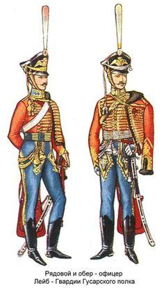 Sottusfficiale e ufficiale degli ussari delle guardie del corpo