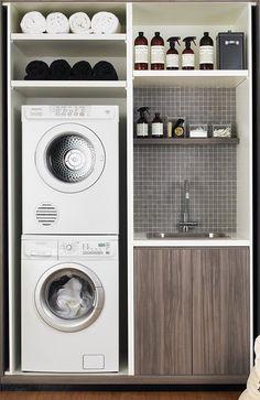 laundry machine stacking, sink, storage idea by StarMeKitten