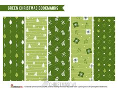 Free printable Christmas bookmarks featuring a green color scheme. Download them from https://christmasowl.com/download/bookmarks/green-christmas/