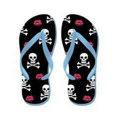 ☆ Fun Skull and Crossbones Flip Flops ☆