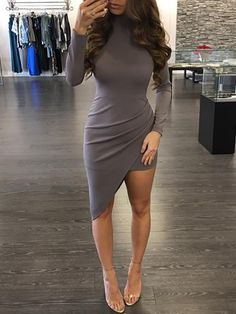 Trendy Plunged Irregular Pleated Bodycon Dress #bodycondresshomecoming