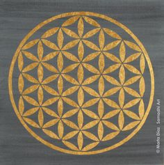 FLOWER OF LIFE. Mandalas Collection. Mixed technique on wood. 22 Karats gold foil. 20 x 20 x 4 cm (7 7/8 x 7 7/8 x 1 37/64 in)