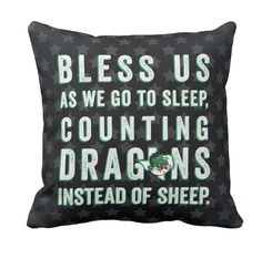 """Sweet dreams little dragons! 20"""" toss pillow--will be in HMK December 3rd, 2015... Limited quantities."""