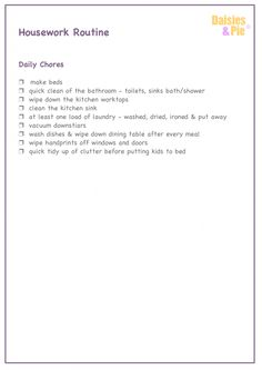 Daily housework checklist | Daisies & Pie Easy housework routine | homekeeping UK | daily housework chores | Homekeeping checklists