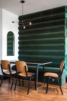 Modern green banquette