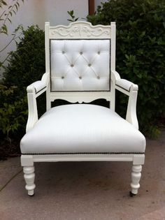 All white chair Handpainted and upholstered in Irish Linen.