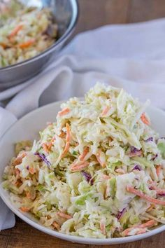 Easy Cole Slaw made in just 5 minutes with the perfect homemade dressing, this is the ultimate side dish for summer because it is even better the next day.