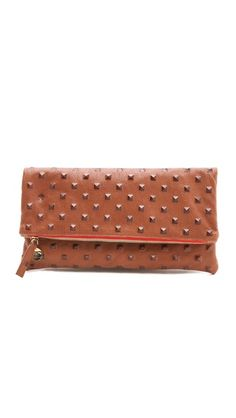 CLARE VIVIER Studded Fold Over Clutch  also in black or gray