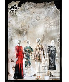 "Bergdorf Goodman, NY, ""Personal UNiVERSEs"" by artist Eva Petric, visionary lace environments for NY Fashion Week, pinned by Ton van der Veer"