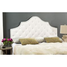Safavieh Arebelle White Velvet Upholstered Tufted Headboard   Silver  Nailhead (King) (MCR4037H