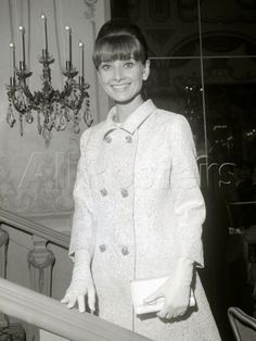 "The actress Audrey Hepburn photographed in the Crystal Room of the Sherry-Netherland Hotel, located on Fifth Avenue, in Manhattan, New York City, New York (USA), during her arrival for a press reception for some of the stars of ""My Fair Lady"", one..."