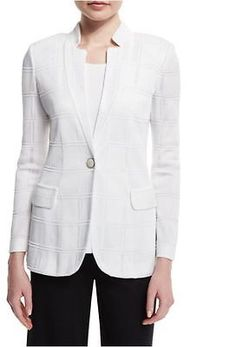 bb63c2e190 Misook White Textured Square One-Button Front Knit Jacket M