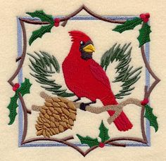 """Christmas Cardinal SquareProduct ID:C6492 Size:5.86""""(w) x 5.86""""(h) (148.7 x 148.9 mm)Color Changes:19 Stitches:42278Colors Used:14"""