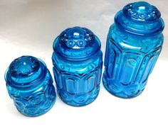 Vintage Blue Glass Canisters Moon & Stars by sweetie2sweetie, $89.99