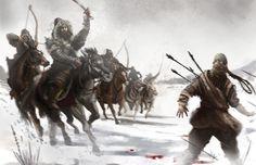 Mongol horse archers pursuing a spy