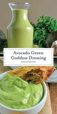 Avocado Green Goddess Dressing A Healthy Homemade Salad Dressing - Avocado Green Goddess Dressing is full of good-for-you veggies and herbs, perfect for salads, but also ideal as a dipping sauce or a spread for sandwiches. Avocado Dessert, Green Goddess Salad Dressing, Vegan Green Goddess Dressing Recipe, Green Goddess Recipe, Vegan Avocado Dressing, Green Goddess Dip, Avocado Ranch Dressing, Avocado Toast, Avocado Recipes
