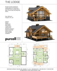 Purcell Timber Frames - The Precrafted Home Company - The Lodge Prefab Full Home Package Barn House Plans, Cabin Plans, Small House Plans, House Floor Plans, A Frame Floor Plans, Timber Frame Homes, Timber House, Wooden House, Timber Frames