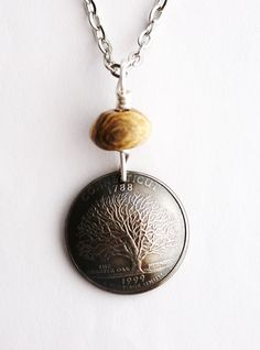 Connecticut State Quarter Coin Necklace Domed Coin by Hendywood