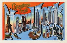 """Vintage NEW YORK CITY """"Large Letter"""" Postcard Poster! (up to x - Vintage - Antique - Big Apple - Statue of Liberty - Classroom by PostersGarage on Etsy New York City Ny, New York Art, Vintage New York, Vintage Postcards, Vintage Images, Photo Postcards, A New York Minute, Nyc, Textiles"""