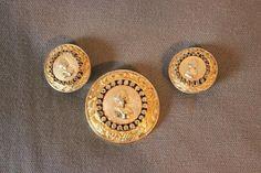 NETTIE ROSENSTEIN gold tone MEDALLION Coin Pave Rhinestone BROOCH Pin EARRINGS #NettieRosenstein