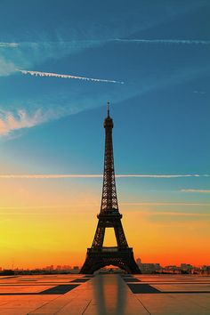 The Eiffel Tower in Paris at Sunrise