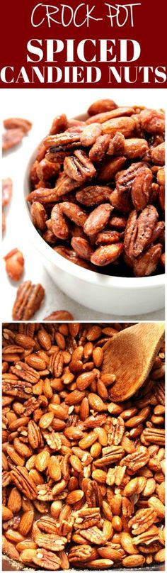 Crock-Pot® Candied Spiced Nuts - the best and easiest candied nuts recipe. No egg white needed! Just mix and cook in a slow cooker.