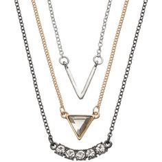 Apt. 9 V, Triangle & Curved Link Necklace Set (Yellow) ($7.99) ❤ liked on Polyvore featuring jewelry, necklaces, yellow, yellow jewelry, imitation jewellery, apt. 9, set necklace and yellow necklace